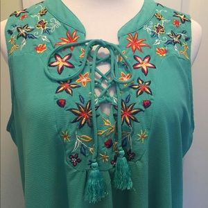 My Michelle sea foam green embroidered tie front
